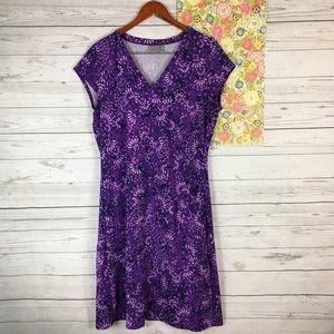 Athleta XL Floral Purple Short Sleeve Sports Dress